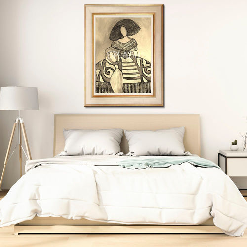 Monochrome Menina Painting with Frame
