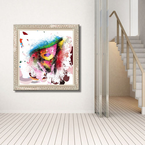 Abstract painting Woman with hat and frame