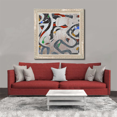 Abstract geometric painting with frame