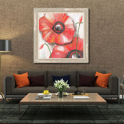 Large red flower painting with frame