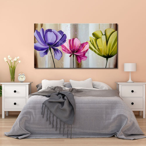 Large multicolour painted flowers painting