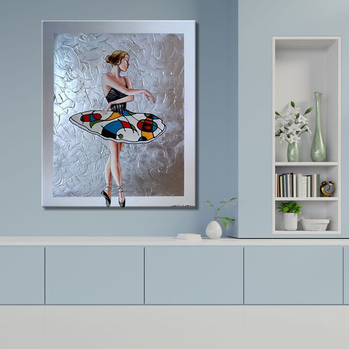 Dancer's painting with abstract and silver