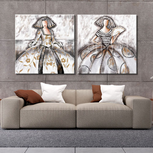 Pair of paintings Meninas terracotta and ochre
