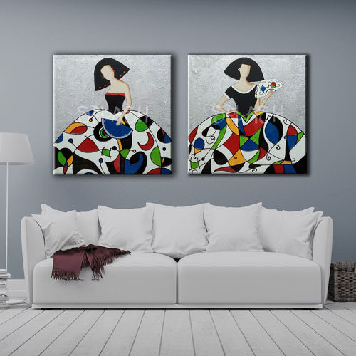 Paintings of Meninas colorful couple and silver