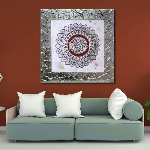 Mandala picture Painting with Silver Frame