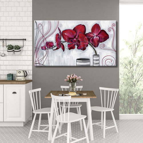 Painting of red flowers and vases