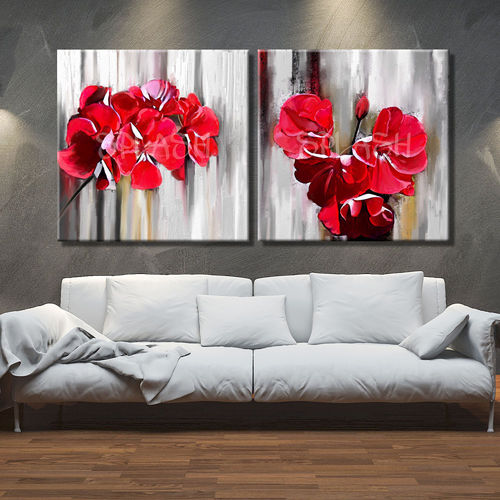 Diptych of paintings of flowers in red
