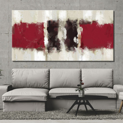 Abstract geometric painting black and red