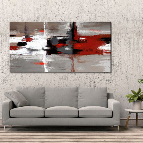 Abstract red vs. white painting