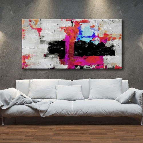 Abstract geometric painting crossed colors
