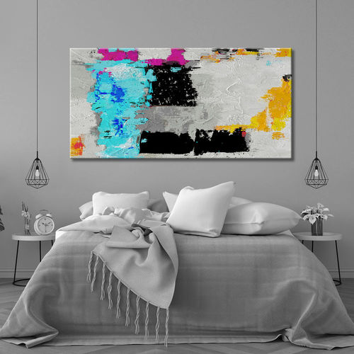 Abstract geometric turquoise and black painting