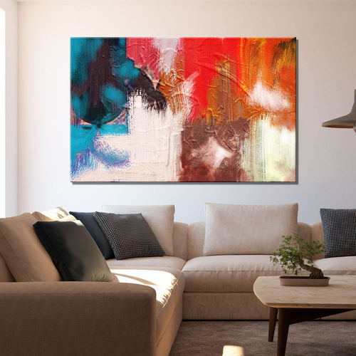 Abstract textured red and turquoise painting