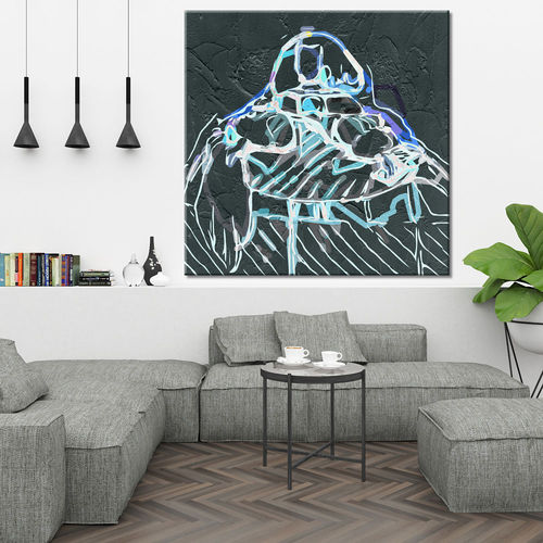 Menina painting in black and turquoise blue