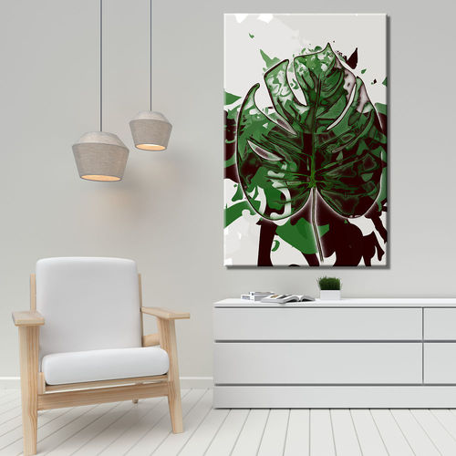 Abstract painting with tropical green leaf