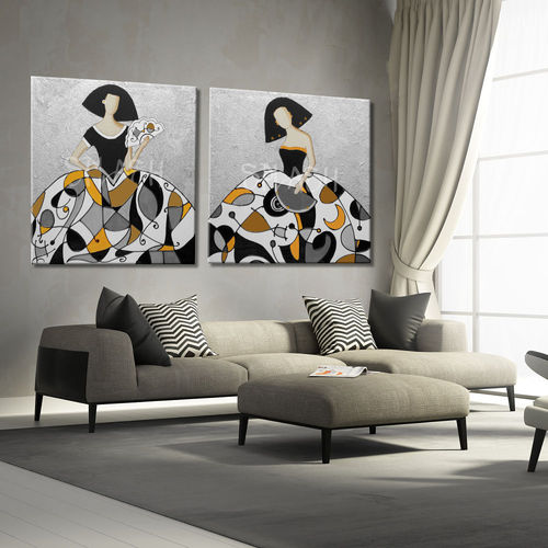 Meninas Paintings Couple Yellow Mustard