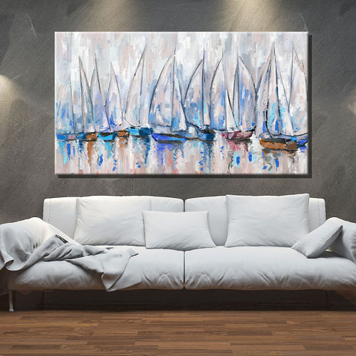 Painting of marine with sailboats in blue