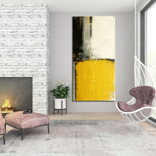 Abstract painting partition in grey and mustard