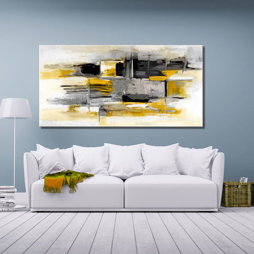 Abstract painting in grey and mustard yellow