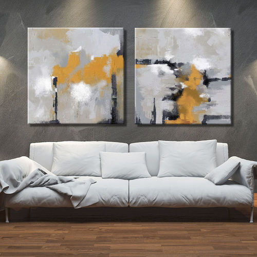 Abstract Painting Diptych Mustard Yellow