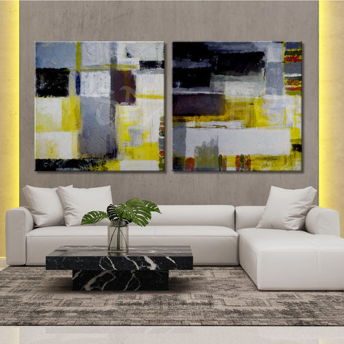Abstract Yellow and Grey Paintings in Diptych