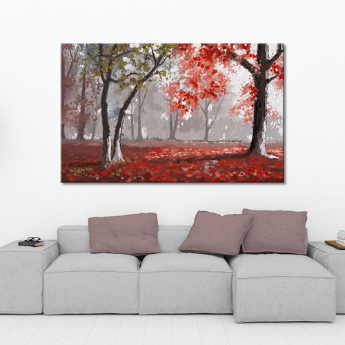 Autumn tree landscape painting in red