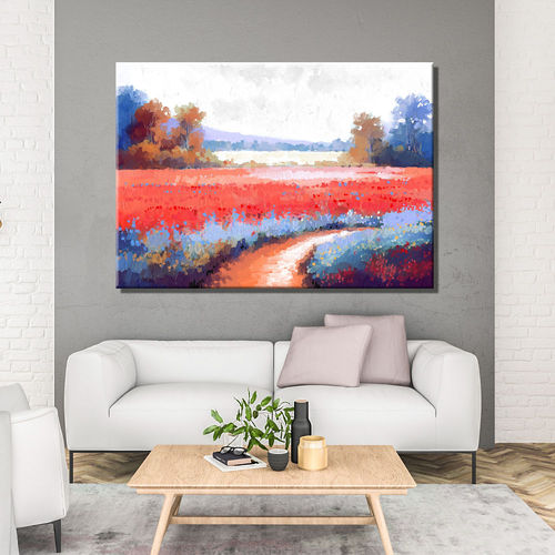 Red flowers country landscape painting
