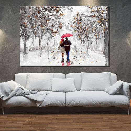 Couple's painting and red umbrella walking