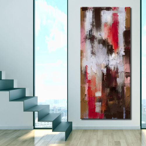 Vertical Abstract Painting Coloured Stripes