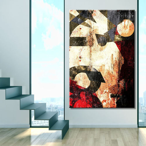 Abstract painting with vertical graphics