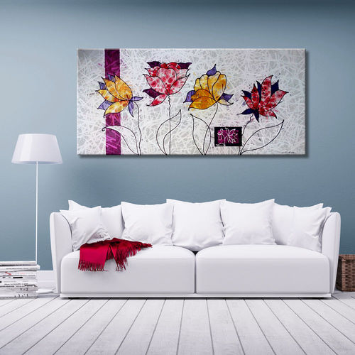 Painting of flowers with a grey background