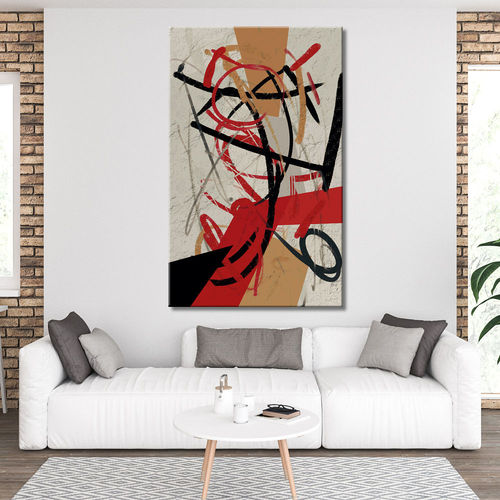 Geometric Abstract Painting red black and ochre