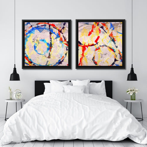 Paintings couple abstract circles and frame