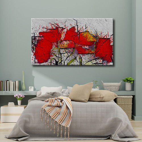 Deconstructed abstract painting red flowers