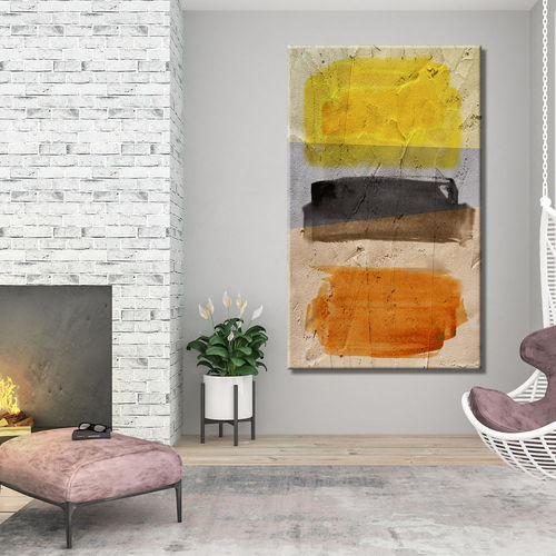 Tricolour painted vertical abstract painting