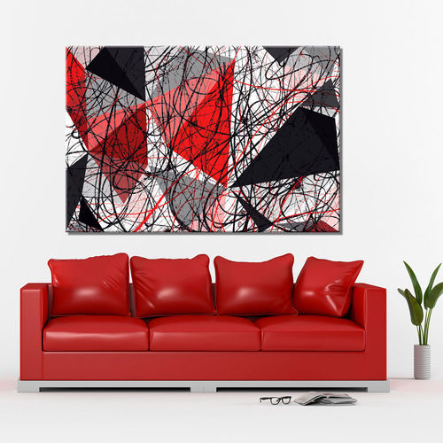 Striped geometric abstract painting