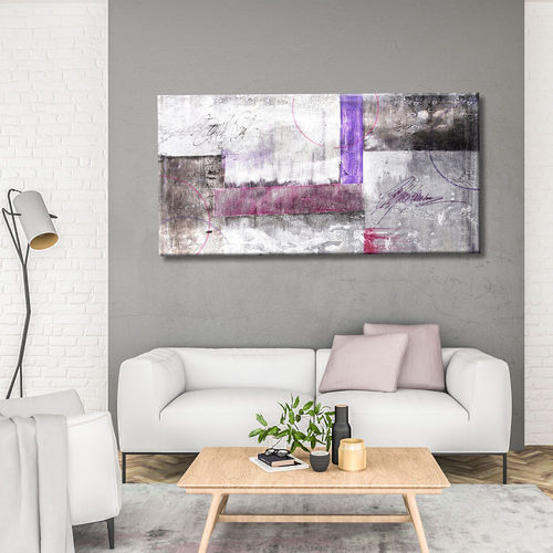 Abstract painting black mauve and magenta