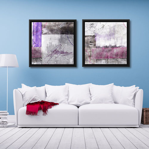 Pair of geometric abstract paintings and frame