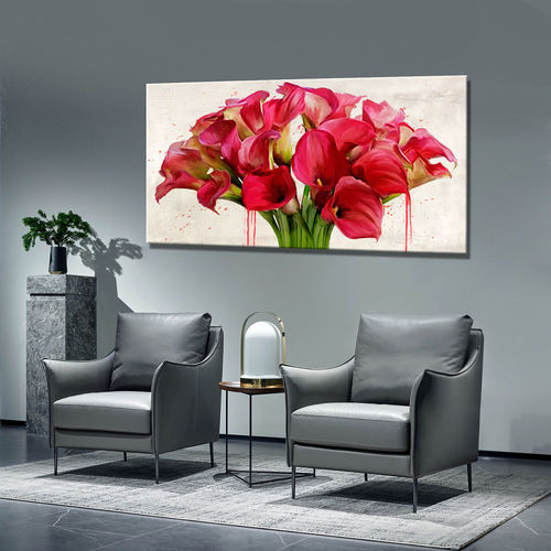 Painting abstract calla in red