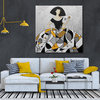 Menina fan painting in silver and mustard