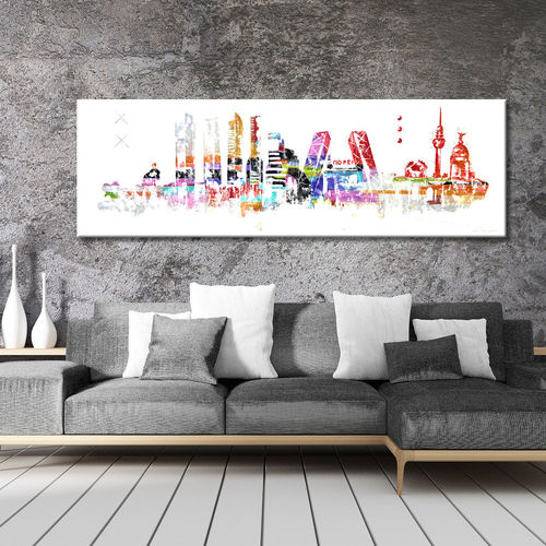 Painting Skyline Madrid Abstract Colorful