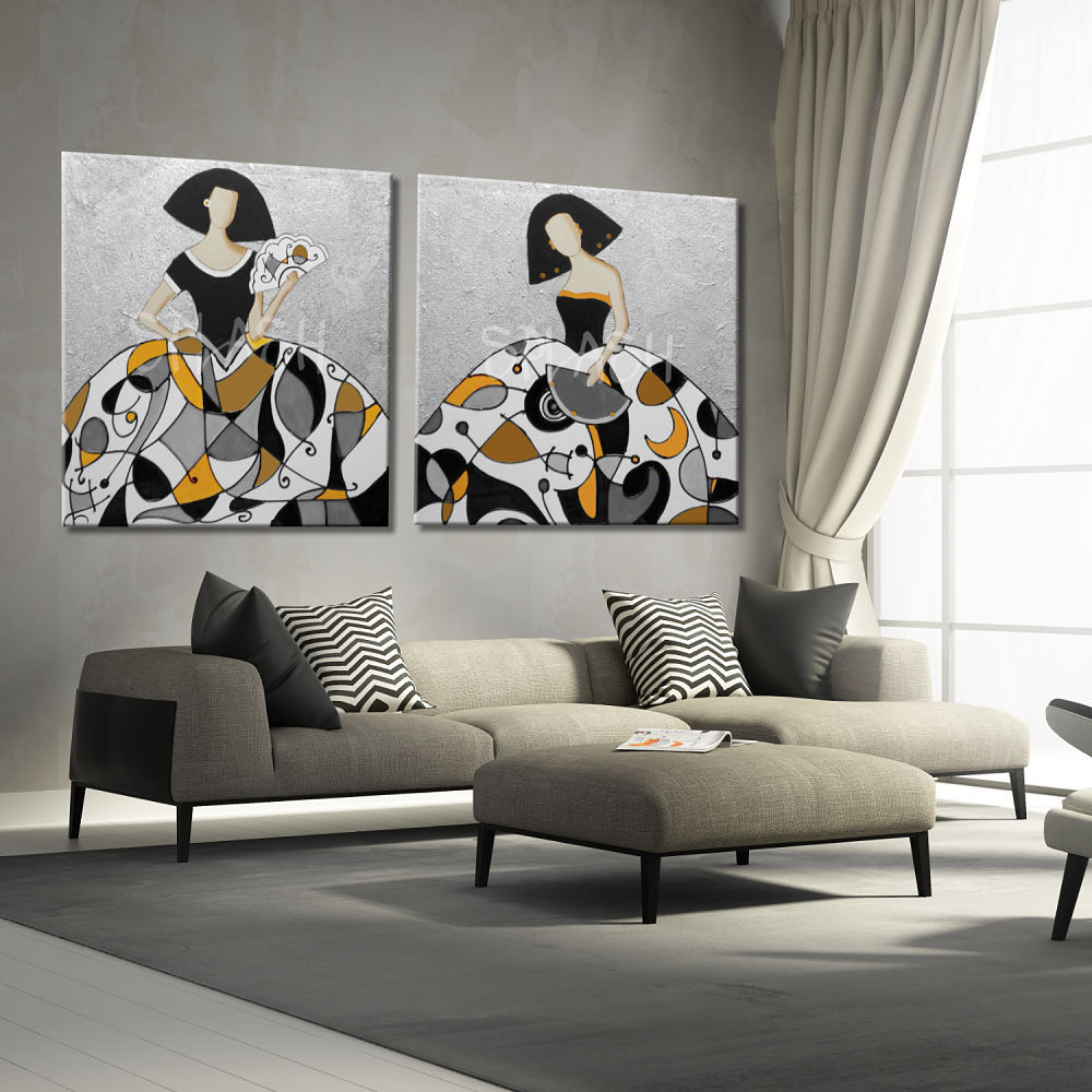 Paintings-Modern-girls-painted-silver-yellow-mustard-texture-couple-Couples-living romo