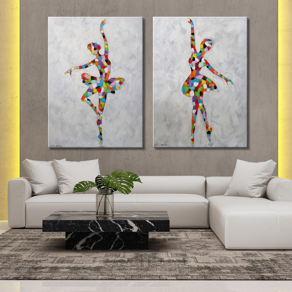 Figurative pictures of people, objects and silhouettes in pairs to decorate the home or business