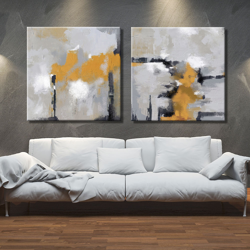 Abstract paintings by pairs painted and printed with original textures for interior decoration