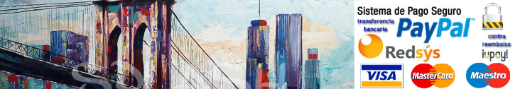 Modern hand painted and printed urban paintings and urban scenes to decorate living rooms and bedrooms