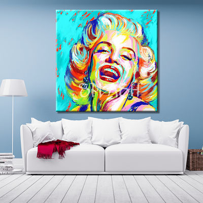 Picture of Marilyn Monroe in pop art style painted and printed in blue background for living room