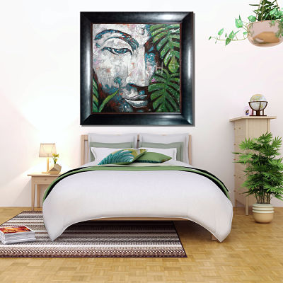 Ethnic painting of Buddha with green leaves and black wenge frame