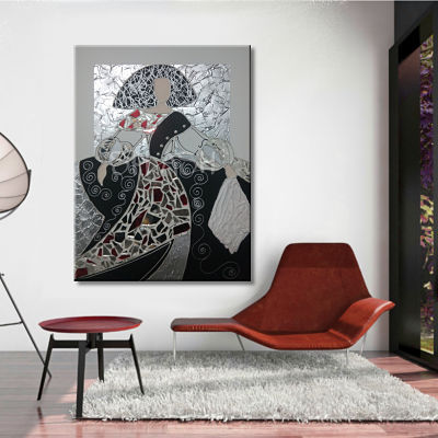Hand-painted Modern Meninas paintings with abstract collage textures for living room and bedroom