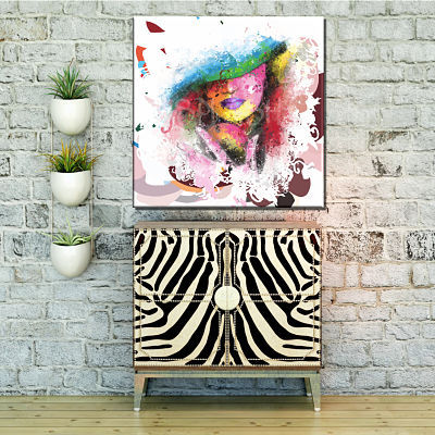 Figurative painting of woman with hat and abstract touch printed on canvas