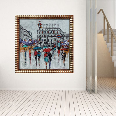 Picture of Madrid Puerta del Sol Tío Pepe with figures walking in front of the metro painted with a golden carved frame