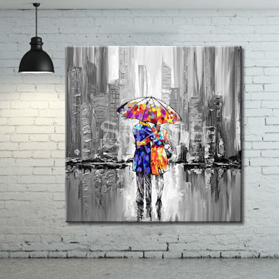 Urban paintings and urban scenes of cities with figures and silhouettes with umbrellas